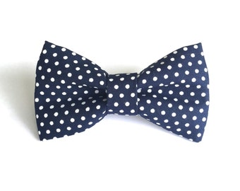 Navy Blue Polka Dot Dog Bow Tie