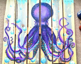 Octopus pallet paintings (different colors shown)