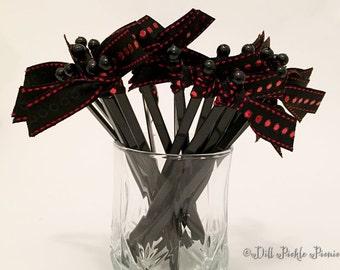 Black with Red Foil Dots Grosgrain Ribbon on Green Cocktail Stirrers - 25 count black stir sticks