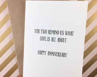 Funny anniversary card for parents