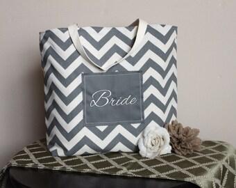 Bride Tote Bag, Bridesmaid Bags, Beach Bag, Bridal Shower Gift, Wedding Party Gifts, Gray Chevron Duck Cloth Canvas -  Gift-Favor Bag