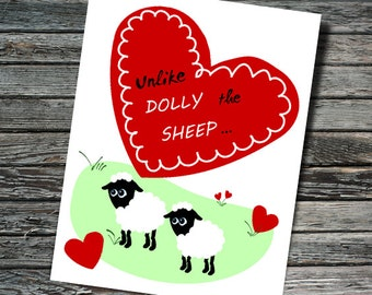 Dolly the Sheep Science Valentine / Love Card | Nerdy Valentine, Cloning, Molecular Biology, Chemistry | Professor, Teacher, Scientist