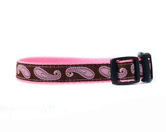 5/8 ou 3/4 pouce large collier de chien avec boucle réglable ou Martingale en Pink Paisley