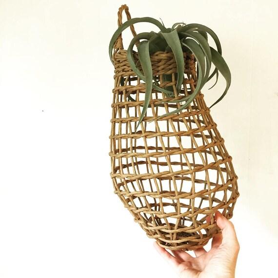 woven raffia wall basket - gourd shaped open weave - boho kitchen decor - air plant holder