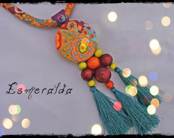 SOLD - necklace ESMERALDA - Choker multicolor tassels - predominantly orange, yellow and purple - beads and tassels