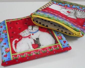 Feline Love/2 Zipper Pouches/Zipper Bags//Small Wallet/Cotton Bag/Zipper Wallet/Coin Purse/Womens Wallet/Cats