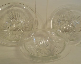 Federal Glass Clear Bowls, 3 Mixing Bowls in Star-Clear by Federal Glass, Vintage bowls from The 1940s & 1950s, 3 Nesting Bowls
