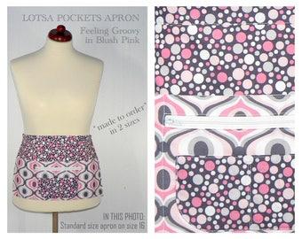 Feeling Groovy Lotsa Pockets Apron, Waitress- Vendor- Photographer- Teacher Apron with Zipper Pocket, lovely mod prints, ready to ship now