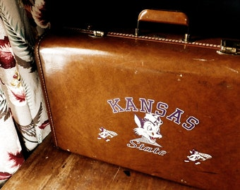 Vintage 1950s Kansas State Wildcats Student Towncraft Suitcase