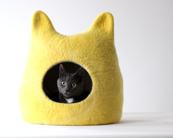 Cat bed - cat cave - cat house - made to order - felted wool cat bed - lemon yellow with natural white - gift for cat