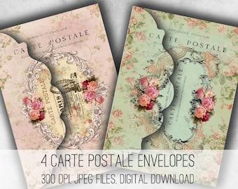 Digital Collage Sheet Download - Shabby Chic Paris Envelopes -  1033  - Digital Paper - Instant Download Printables