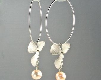 Hoop Earrings Silver Orchids and Pale Peach Pearls