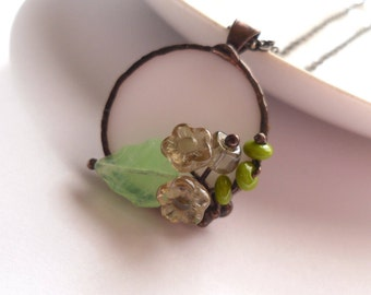 Wearable art, stained glass jewelry, flower pendant, statement jewelry, gray flower necklace, art jewelry, gift for women, beaded