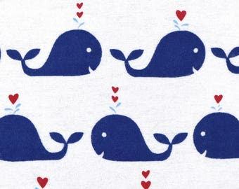Snuggle Flannel Fabric - Navy Happy Whales - 30 inches