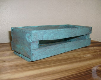 Rustic Wooden Crate, Turquoise Crate, Decoratvie Crate, Wood Crate, Small Wood Crate, Rustic Crate, Decorative Crate, Shabby Chic Crate