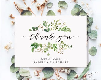 Greenery Thank You Card Watercolor Thank You Card Wedding Thank You Editable Thank You Card Template Instant Download Thank You Card PDF #01