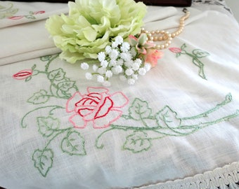 Vintage Table Runner or Dresser Scarf, Hand Embroidered with Red and Pink Roses, Fringed Edges, Cottage Decor, Vintage Linens