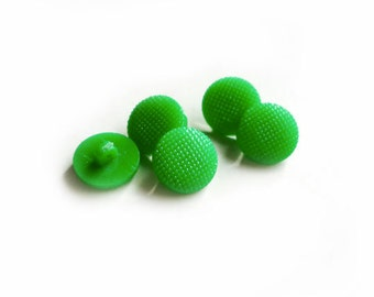 6 Neon Green Vintage Shank Buttons, 12mm