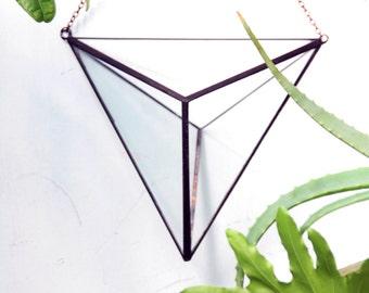 Geometric glass terrarium, hanging terrarium, stained glass, hanging indoor planter, airplants terrarium.
