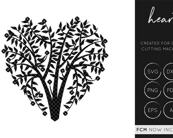 Love Tree SVG, Heart Cut File, Heart Cutting File, Wedding Cut File, Heart FCM, Fcm Cut File, heart, dxf, commercial use, silhouette cameo