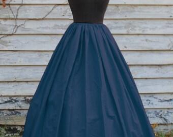 READY TO SHIP! Navy Blue Skirt - Full Length - Civil War Reenactment - Renaissance or Pirate Costume