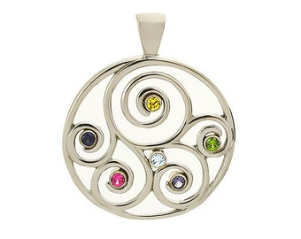 Family Spiral Birthstone Pendant (or Brooch) in Sterling Silver | Grandmother Pendant | Mothers Birthstone Pendant