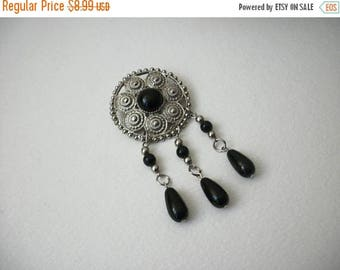 ON SALE Vintage 1950s Silver Tone Open Cut Black Plastic Beads Dangling Pin 80417