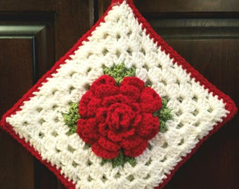 Crochet Decorative Rose Potholder