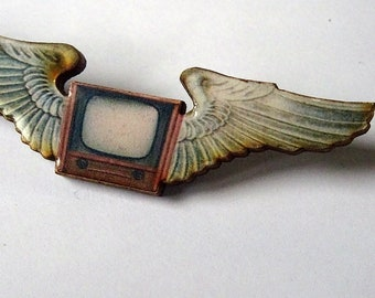 Winged TV Wooden Pin or Brooch