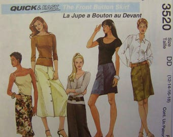 2002 McCall's 3520 FRONT Button SKIRTS Pattern sizes 12 - 18 UNCUT