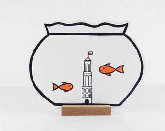 Wooden Fishbowl with 2 goldfish and The Domtower of Utrecht. Ideal pet for at home or the office. Great gift!