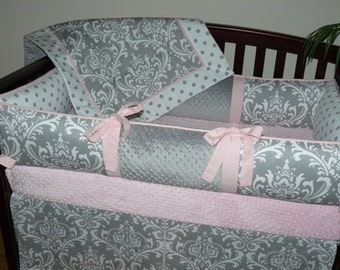 Girl Crib Bedding set, Light Baby Pink Bedding , Gray , Damask , Polka Dot,  1-4pc Crib  Bedding Set.