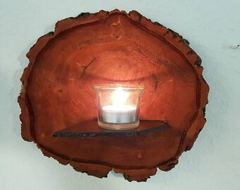 Wall Decoration candle Holder wall shelf decoration wood large tree piece handmade small dark brown maroon