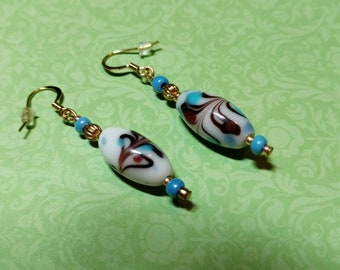 Gold and Blue Art Glass Drop Earrings