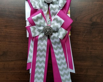 Pink, White, & Silver Chevron Equestrian Show Bows (Grand Champion Size)