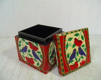 Square Wooden Box Folk Art Hand Painted Black Lacquered - Vintage Handcrafted Primitive Petite Chippy Cubicle Inspired Design Trinket Chest