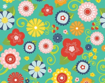 By The HALF YARD - Lazy Day by Lori Whitlock for Riley Blake, Pattern #C3810 Floral Main Teal, Multi Colored Floral Medallions on Teal Blue