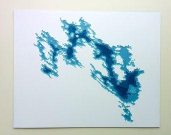 Lake Muskoka - original 8 x 10 papercut art
