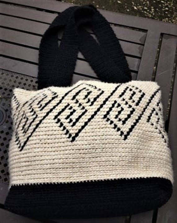 Grecian Classic Large Tapestry Crochet Wayuu Tote Bag
