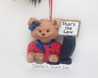 CLEARANCE: Lawyer Personalized Christmas Ornament - Teddy Bear - Custom Name or Message