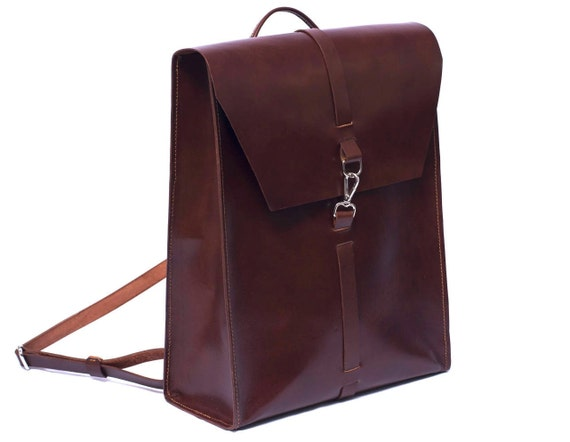 Leather backpack for men, Laptop bag, Backpack for laptop and folders, Design by Ludena