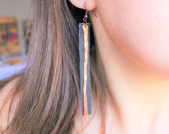 Leather and copper earrings, leather bar earrings copper bar earrings, copper earrings