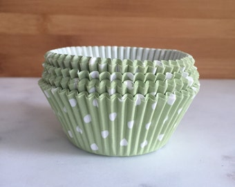 Pale Green & White Polka Dot Cupcake Liners, Standard Sized, Baking Cups (50)