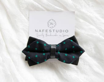Men's Bow Tie Pre-tied Bow Tie For Men Black Green Bow Tie - Green Polka Dots Bow Tie Groom Bow Tie Wedding Gift Gifts