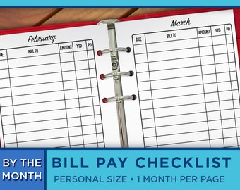 Personal Planner Inserts - 2017 Monthly Bill Pay Checklist on Two Pages Printable - Erin Condren Filofax, Kikki K, Midori - P004