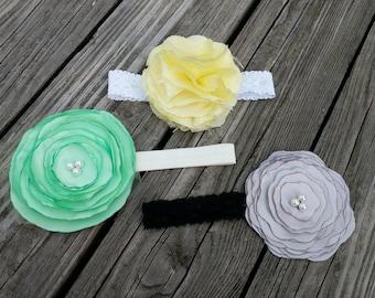 Trio of handmade flower headbands singed raw fabric lace