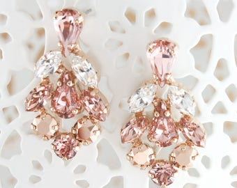 Rose gold earrings,Rose gold blush bridal earrings,blush earrings,Swarovski blush,swarovski earrings,rose gold earrings,blush wedding,blush