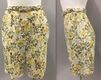 High-Waisted Yellow and Green Floral Shorts, 1960s High Waisted Shorts, Clam Digger Shorts. Vintage High-Waisted Bermuda Shorts