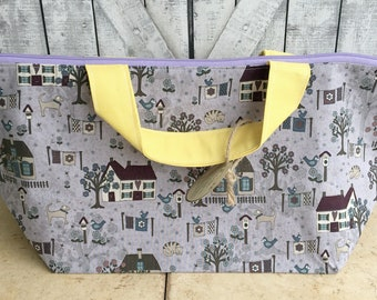 Knitting Project Bag - Country House|Crochet Project Bag|Embroidery Project bag|Cross Stitch Project bag|wedge bag|Toad Hollow Knitting Bag