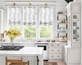Roman Shades Blue White Designer John Robshaw Cordless Custom Widths Kitchen  Bathroom Valance Shade